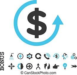 Refund Flat Vector Icon With Bonus - Refund vector bicolor...
