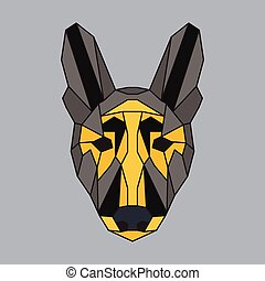 Grey and yellow low poly dog