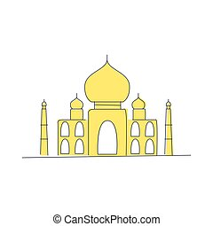 Taj Mahal Building In India Light Color Flat Cute...