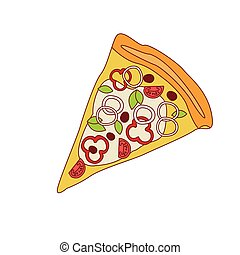 Pizza Slice With Sweet Pepper And Onion Cartoon Outlined...