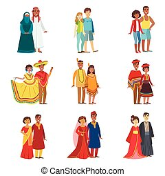 Couples In National Clothes Set Of Simple Design...