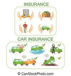 bil, och, Annat, försäkring, Infographic, affisch