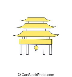 Chinese Pagoda Temple Building Light Color Flat Cute...