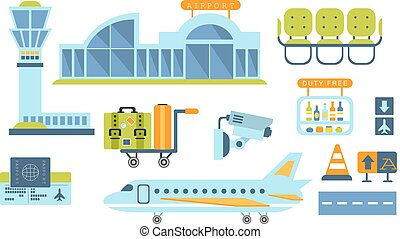 Airport Related Objects Set Of Simplified Flat Cartoon Style...