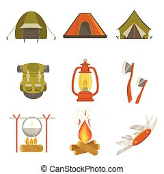 Camping Related Objects Set Of Simple Design Illustrations...