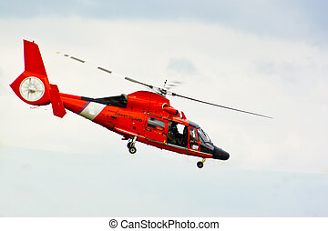 Rescue Helicopter photographed from above the vehicle