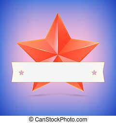 Red star with ribbon.