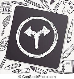 garfo, sinal, doodle