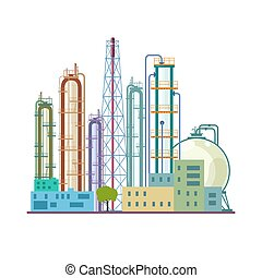 Chemical Plant Isolated on White Background, Refinery...
