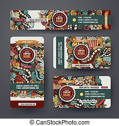 Corporate Identity templates set with doodles cinema theme -...