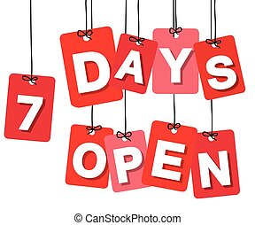Vector colorful hanging cardboard Tags - 7 days open on...