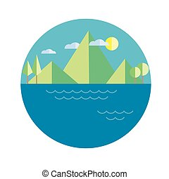 illustration mountains island in color flat
