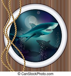 Underwater ship porthole background