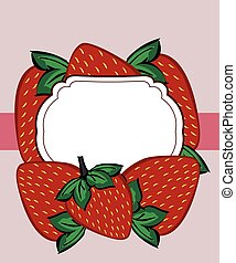 Vector drawn strawberry berry label.