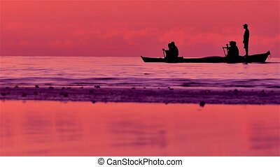 Silhouettes of Fishermen on Sea - Silhouettes of Philippines...