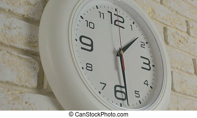 Time one hours thirty minutes. Timelapse. Round white clock...