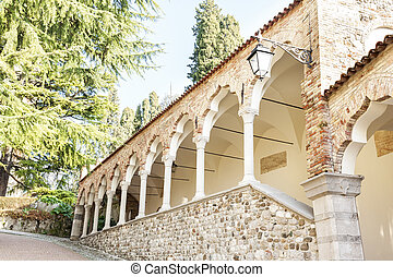 Colonnade of the Lipomannos arcade built in 1486Udine Italy...