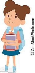 School kid girl education character vector. - School kid...