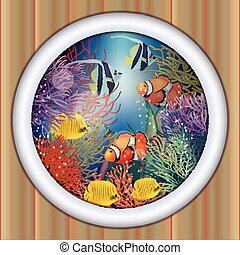 Underwater ship porthole tropical fish, vector illustration