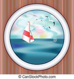 Underwater ship porthole wallpaper