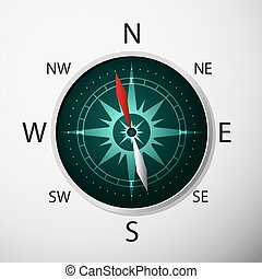 Compass with windrose.