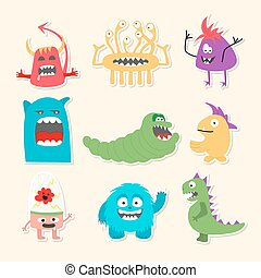 Set of nine stickers with cartoon cute monsters.