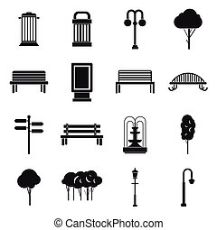 Park icons set, simple ctyle - Park icons in simple ctyle...