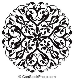 Oriental decorative element. Zentangle mandala black and...