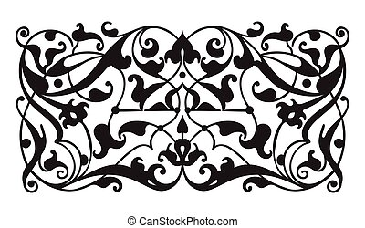 Oriental decorative element. Zentangle black and white....