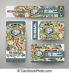 Corporate Identity templates set with doodles photo theme