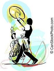 Ilustração, de, par, Dançar, marinera,