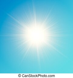 Vector yellow sun with rays and glow on blue sky background....