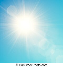 Vector yellow sun with light effects