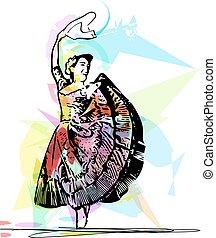 Illustration of woman dancing marinera Peruvian dancing