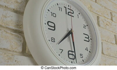 Time seven hours thirty minutes Timelapse Round white clock...