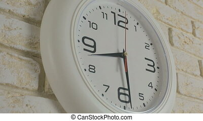Time eight hours thirty minutes Timelapse Round white clock...