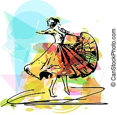 mulher,  marinera, Ilustração, Dançar