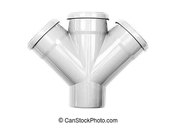 New gray drain pipe isolated on a white background.