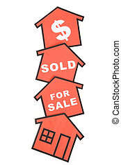 Real Estate Concept - red home sign, Real Estate business...