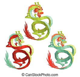 Set of Vector Polygonal Chinese Dragons.