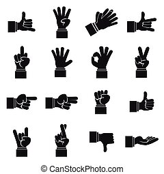 Hand gesture icons set, simple ctyle - Hand gesture icons...