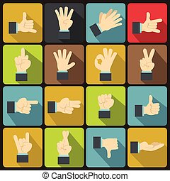 Hand gesture icons set, flat ctyle - Hand gesture icons set...