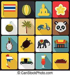 Costa, Rica, iconos, Conjunto, plano, ctyle