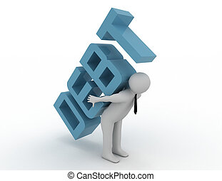 3d people - human character, person carrying word...