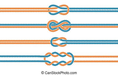 Sailor knot dividers set. Nautical rope infinity sign. Rope...