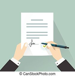 Businessman signing document vector, hands holding contract signed legal agreement