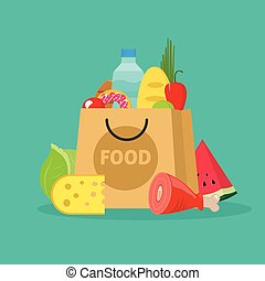 Grocery bag vector illustration isolated, paper packet of...