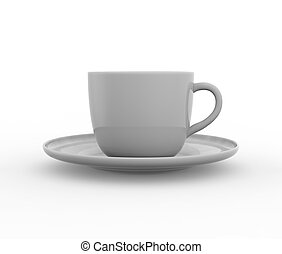 Mockup of coffee or tea cup on plate Realistic three...