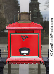 Letterbox in Budapest, Hungary - Red letterbox in Budapest,...