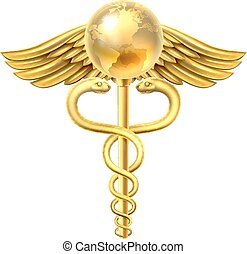 Caduceus Globe Medical Symbol Concept - A caduceus globe...